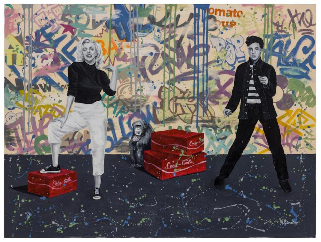 """Nastya Rovenskaya Original Oil on Canvas """"Elvis Presley"""