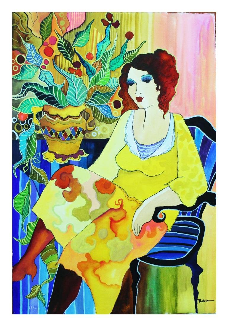 "Patricia Govezensky- Original Watercolor ""Yellow Dress"""