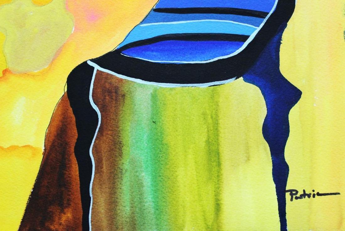 "Patricia Govezensky- Original Watercolor ""Yellow Dress"" - 2"