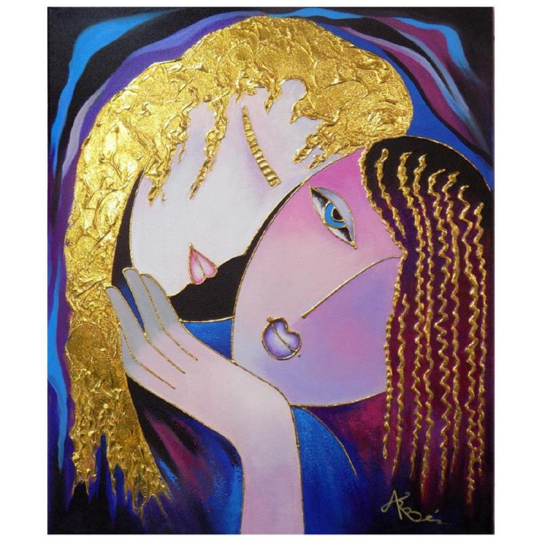 """""""Little Sister"""" is an original mixed media painting on"""