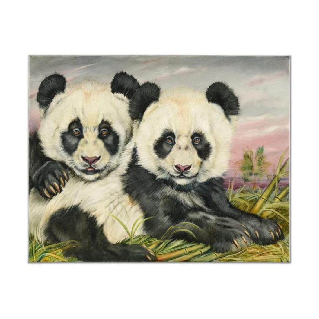 "Martin Katon - ""Loving Panda Cubs"" Original Oil"