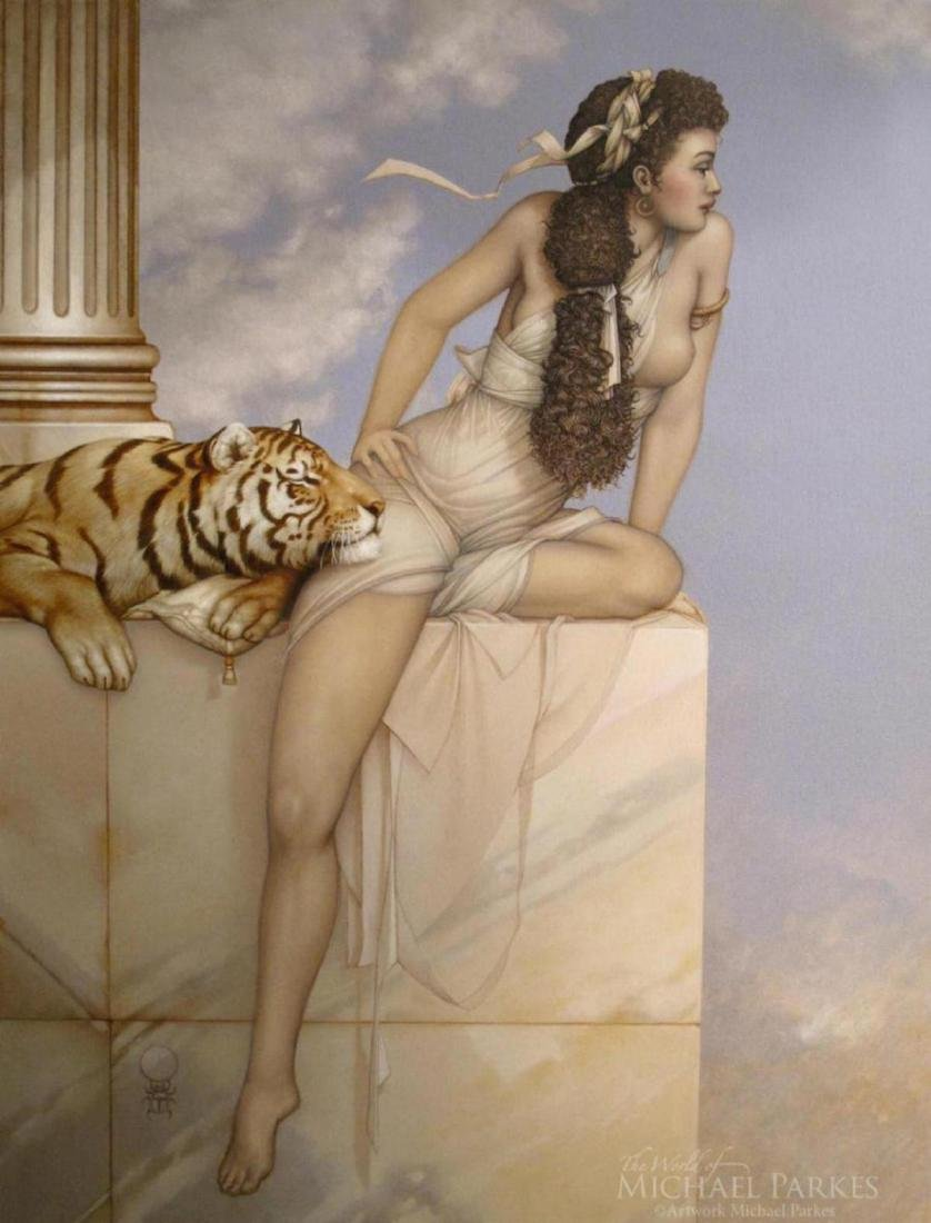 "Michael Parkes ""Danae"" Masterwork on Canvas"
