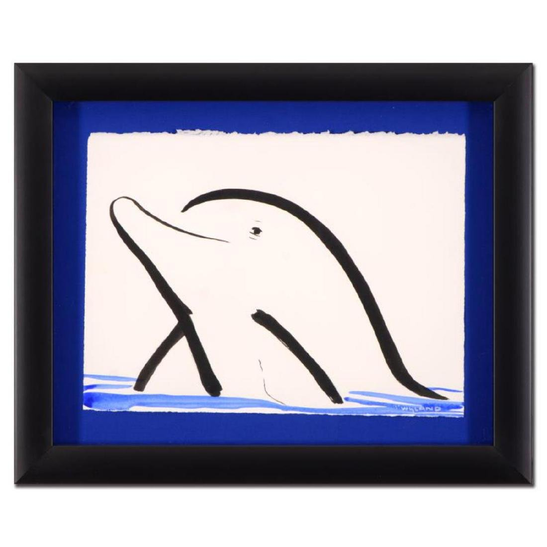 "Wyland - ""Dolphin"" Framed Original Sumi Ink and"