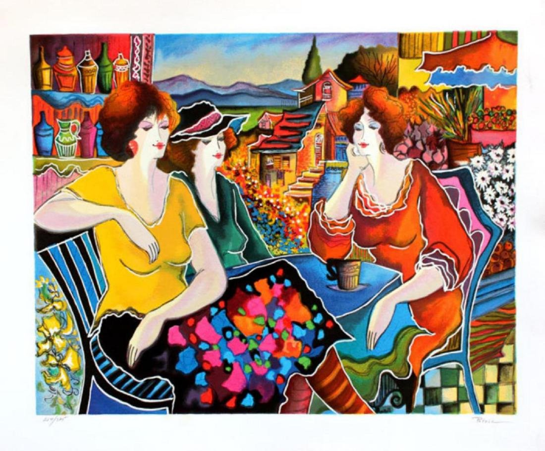 """Patricia Govezensky """"Girl Talk"""" Large Silk Screen"""