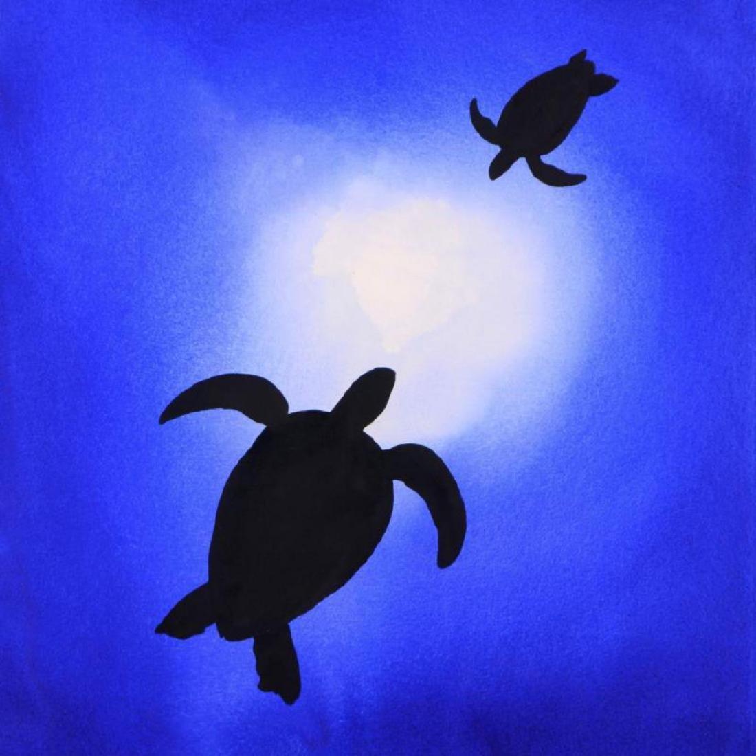 "Wyland - ""Two Turtles"" Framed Original Watercolor - 2"