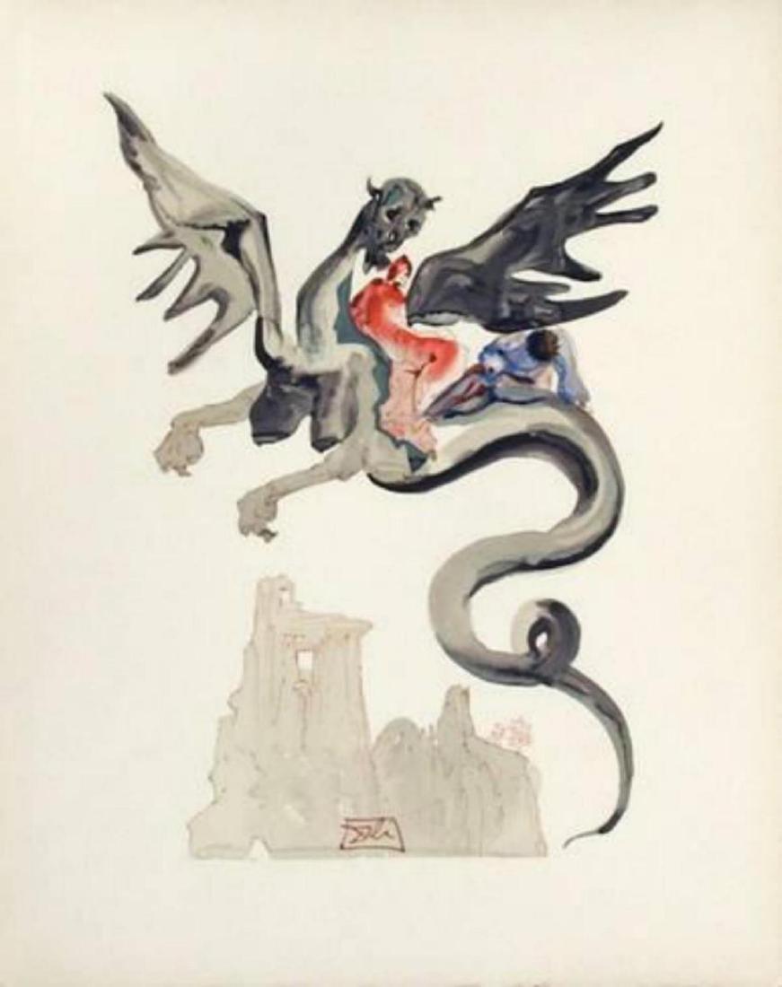 """Salvador Dali """"Enfer 17: Les Usuriers"""" Woodcut Print"""