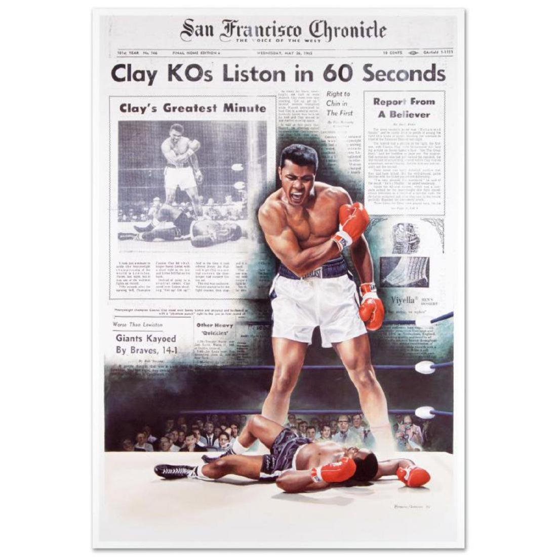 """Clay KOs Liston"" FINE ART POSTER (25.5"" x 37"") of"