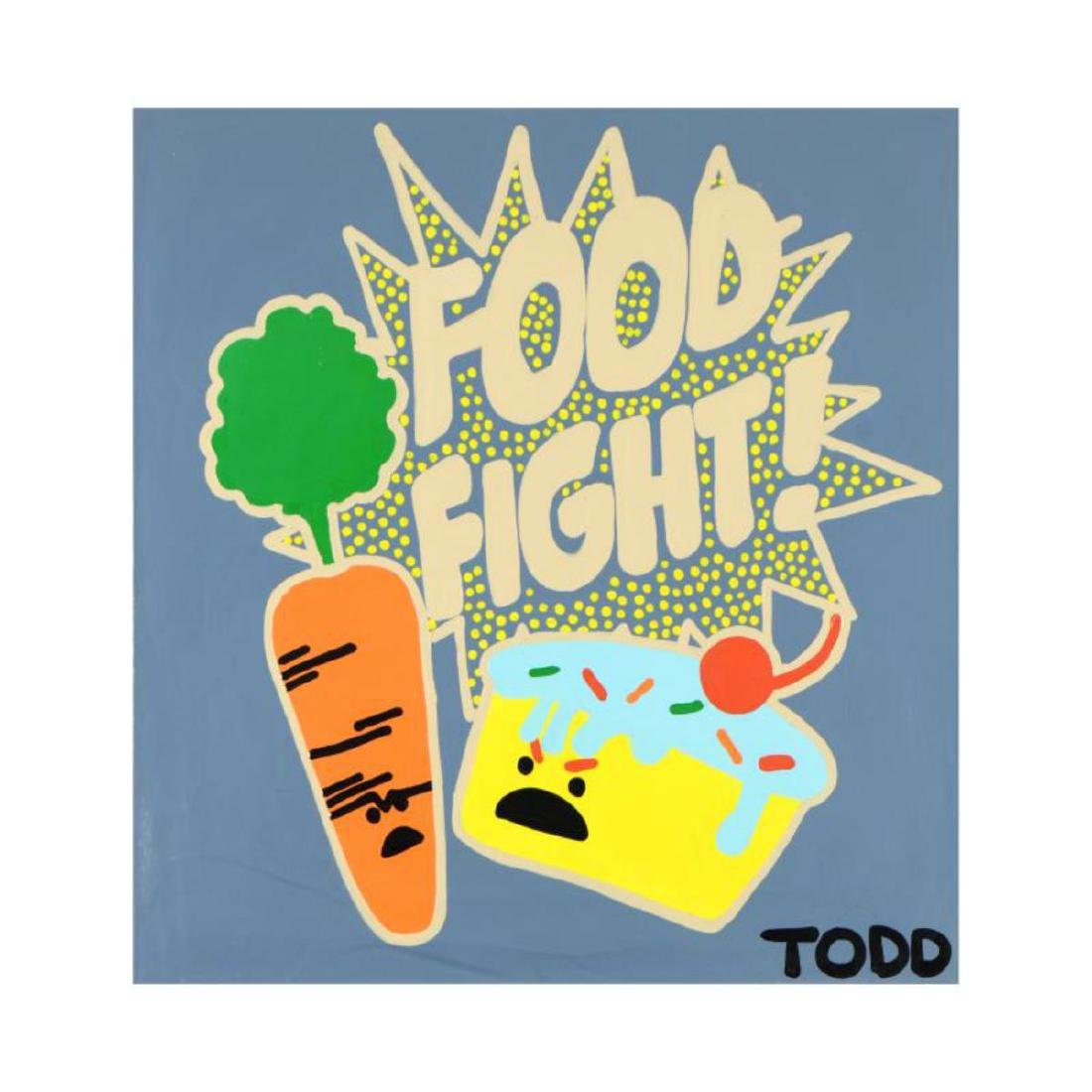 "Todd Goldman - ""Food Fight"" Original Acrylic Painting"