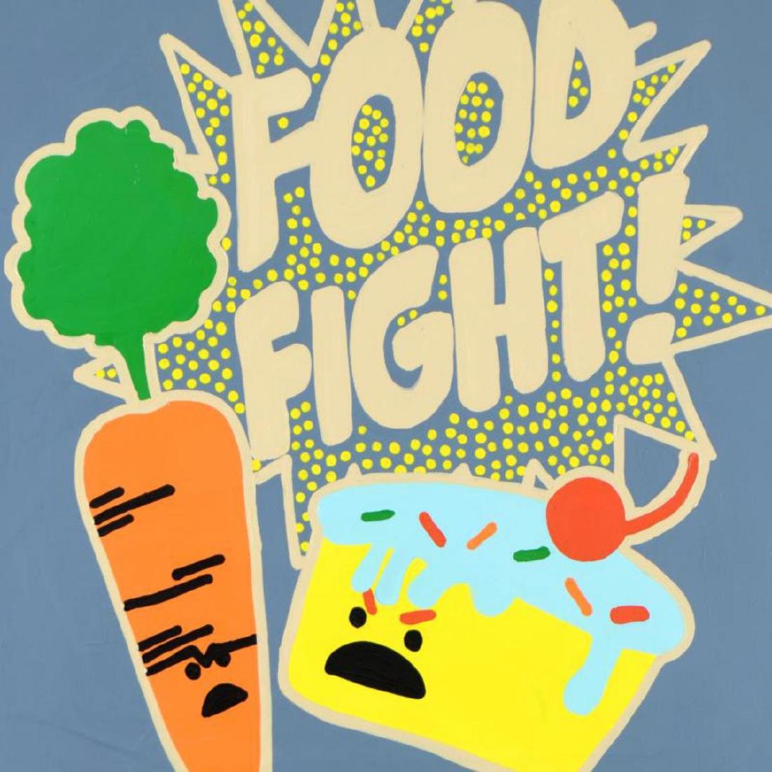 "Todd Goldman - ""Food Fight"" Original Acrylic Painting - 2"