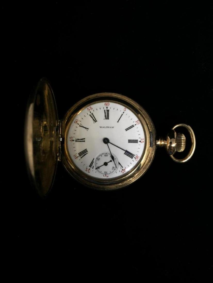 14KGF 0's Waltham 7J Hunter Case Pocket Watch c-1902