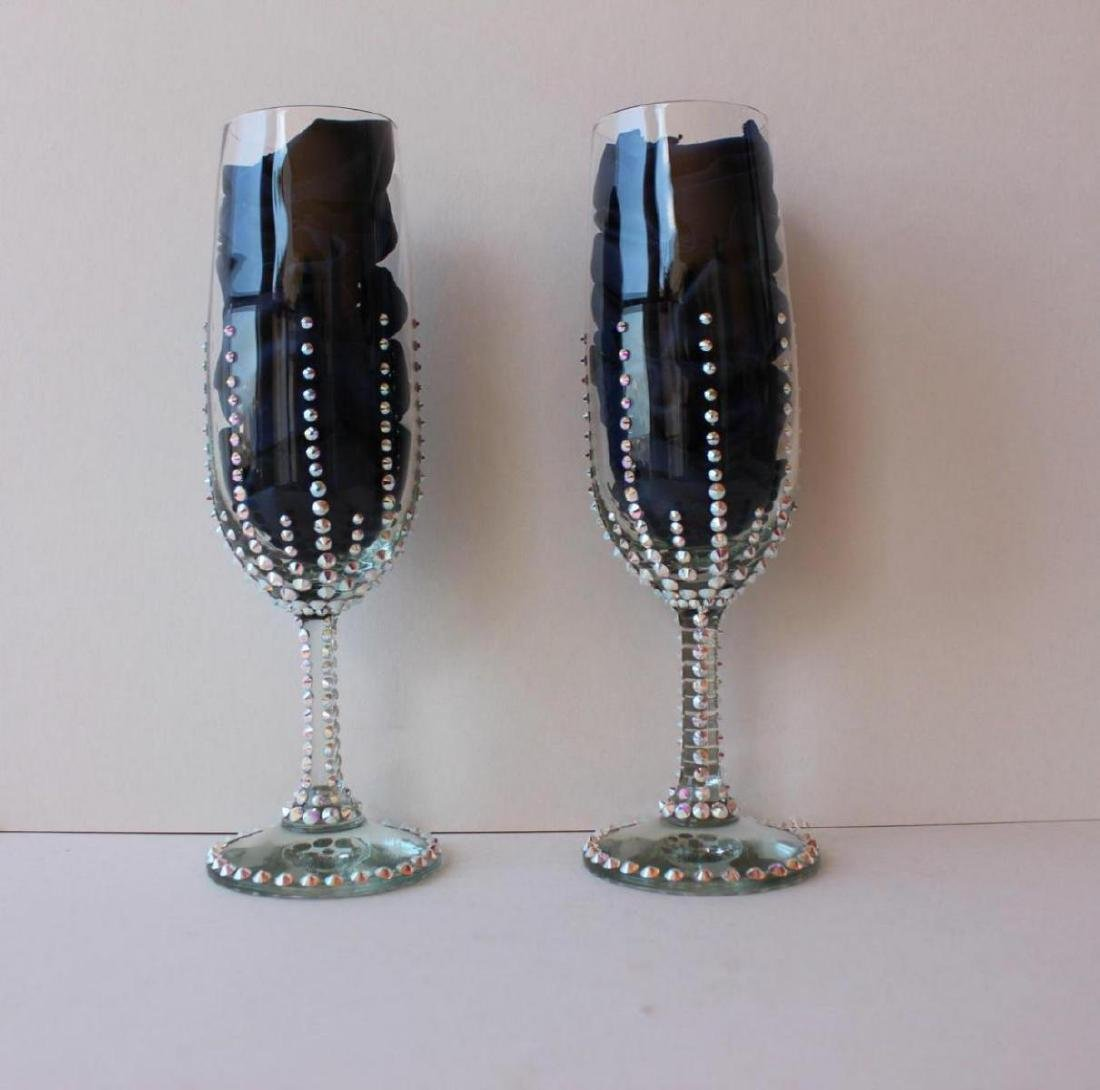 Champagne glasses with Genuine Swarovski Crystals Set
