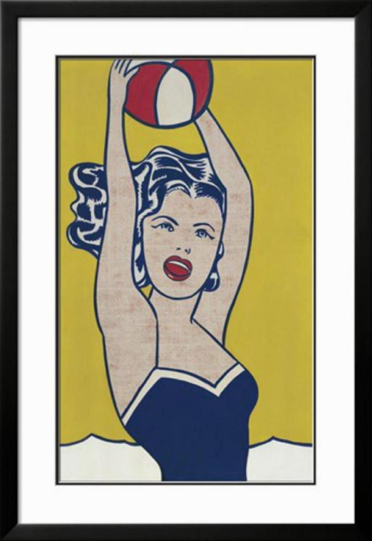 """Roy Lichtenstein """"Girl with Ball"""" Custom Framed"""