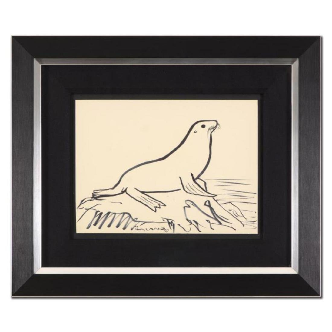 "Wyland - ""Seal"" Framed Original Sketch, Hand Signed"