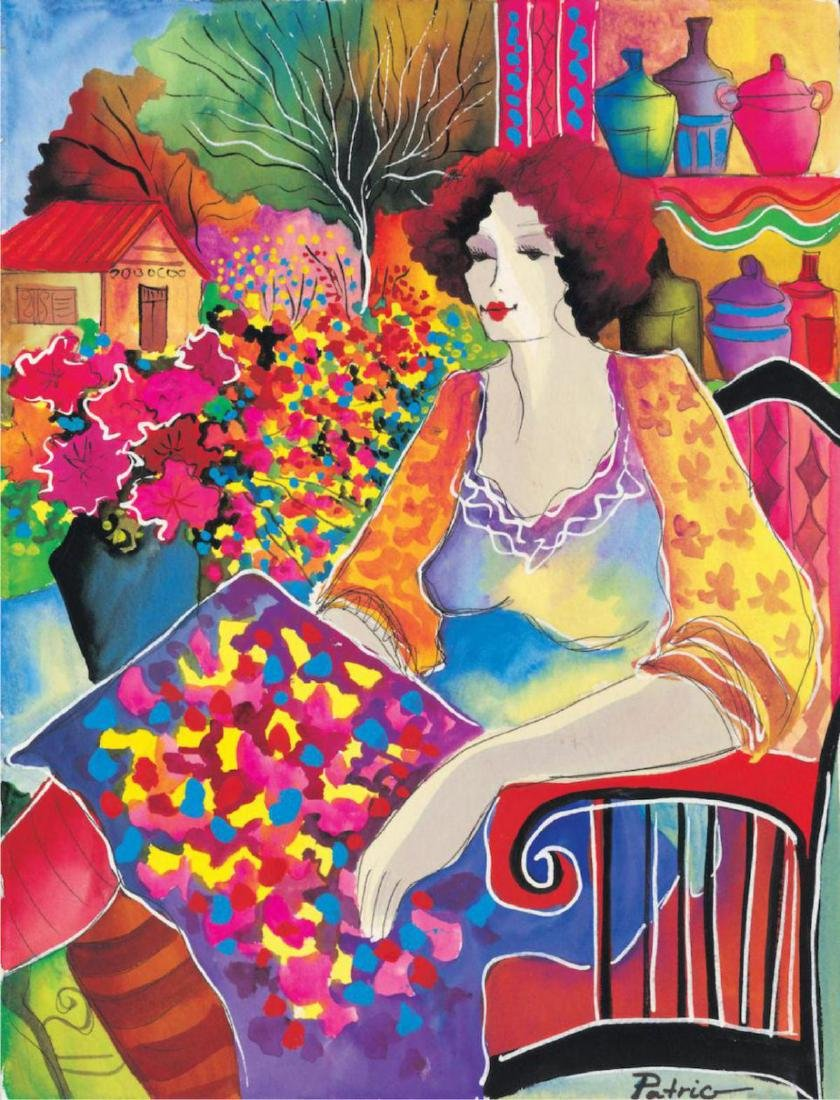 "Patricia Govezensky ""LADY WITH FLOWER VIEW"" Hand Signed"