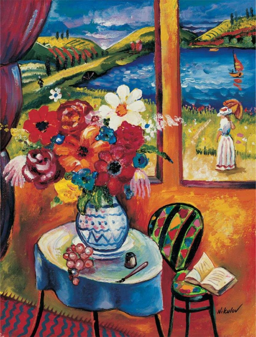 "Oleg Nikulov ""Flower Vase with Countryside View"""
