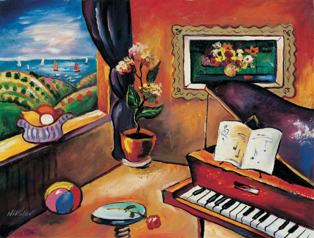 "Oleg Nikulov ""Piano with Countryside View"" Serigraph on"