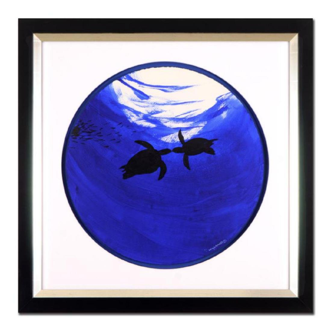 "Wyland -""Two Turtles"" Framed Original Watercolor"