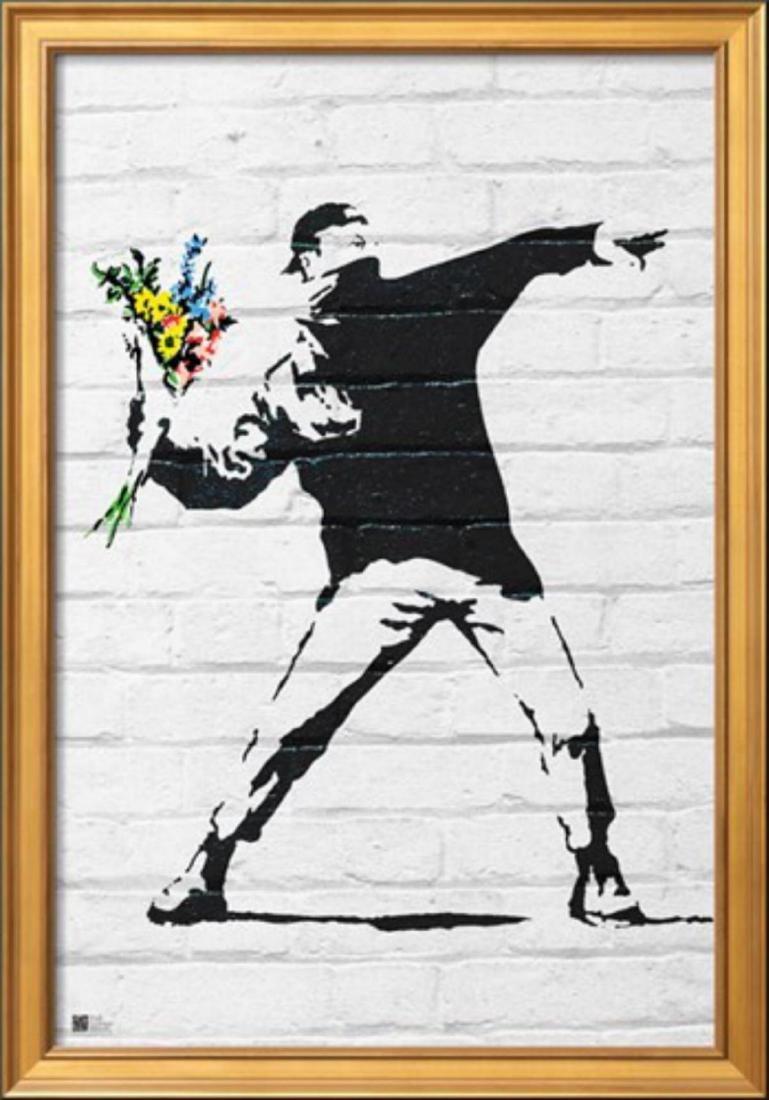 """Banksy """"Flower Bomber"""" Cusom Framed"""