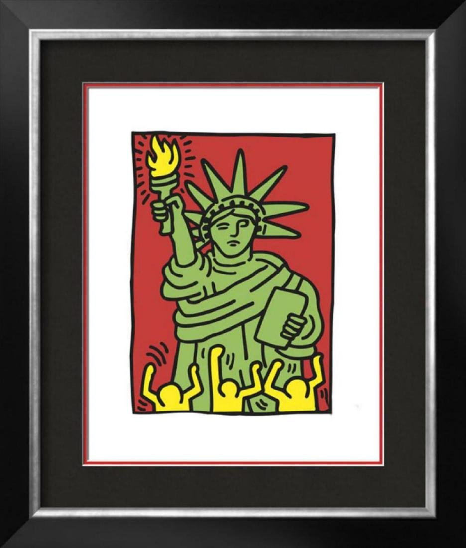 "Keith Haring ""Statue of Liberty, 1986"" Custom Framed"