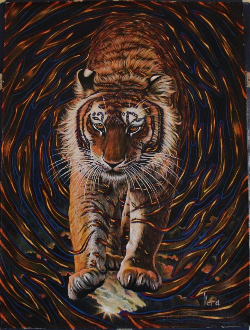 "Vera V. Goncharenko Original Oil on Canvas ""Wild Tiger"""
