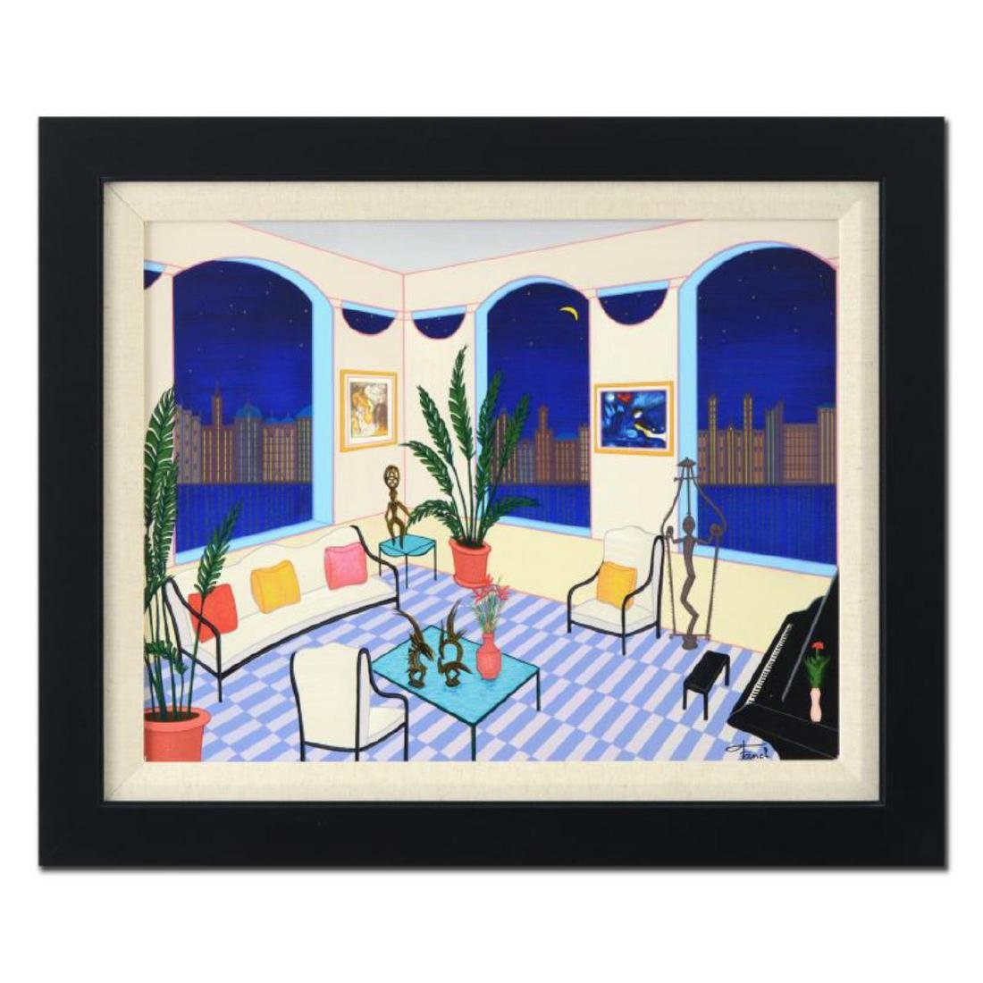 "Fanch Ledan - ""Interior with Primitive Art"" Framed"