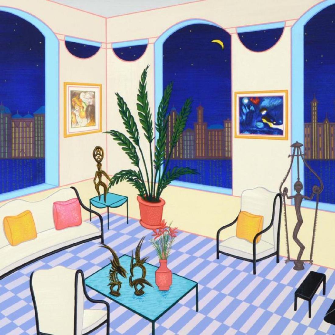 """Fanch Ledan - """"Interior with Primitive Art"""" Framed - 2"""
