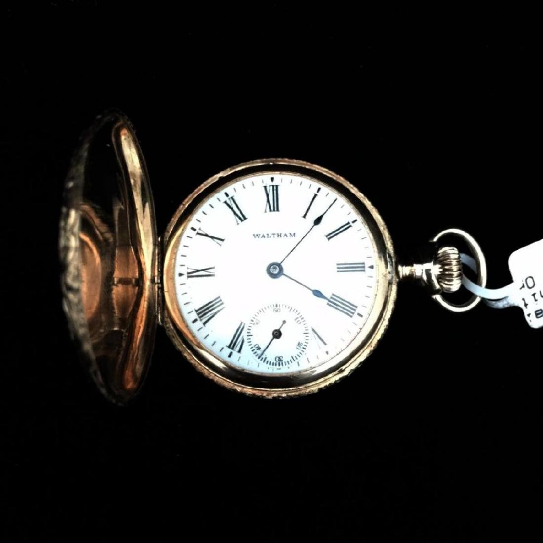 14KY 1903 Waltham 0s 7j Hunter Case Pocket Watch
