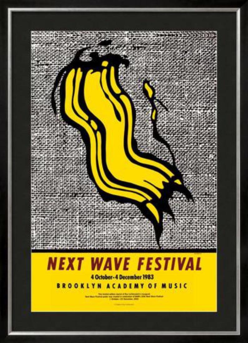 """Roy Lichtenstein """"New Wave Festival"""" Custom Framed"""
