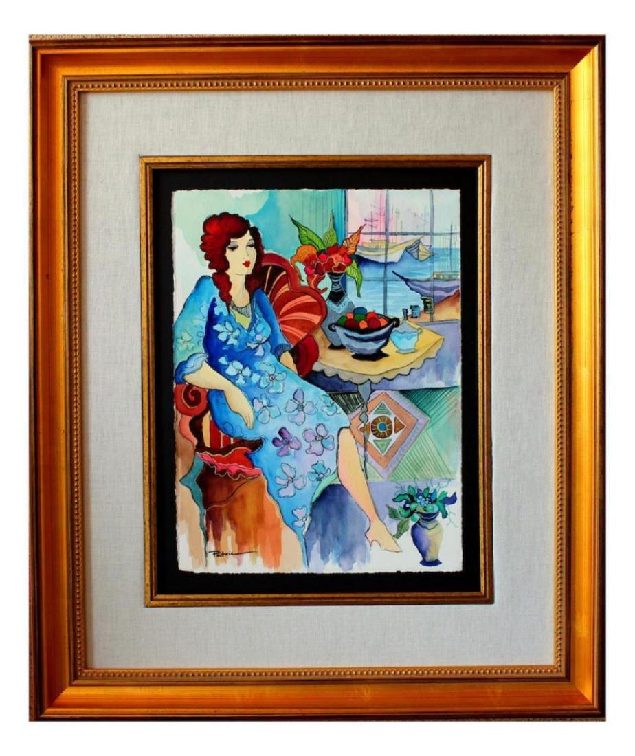 "Patricia Govezensky Original Watercolor ""Blue Laguna"""
