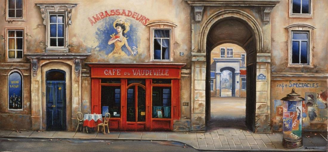 "Alexander Borewko- Original Giclee on canvas ""Cafe Du"