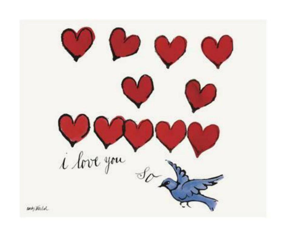 """Andy Warhol """"I Love You So, c. 1958"""" Offset Lithograph"""