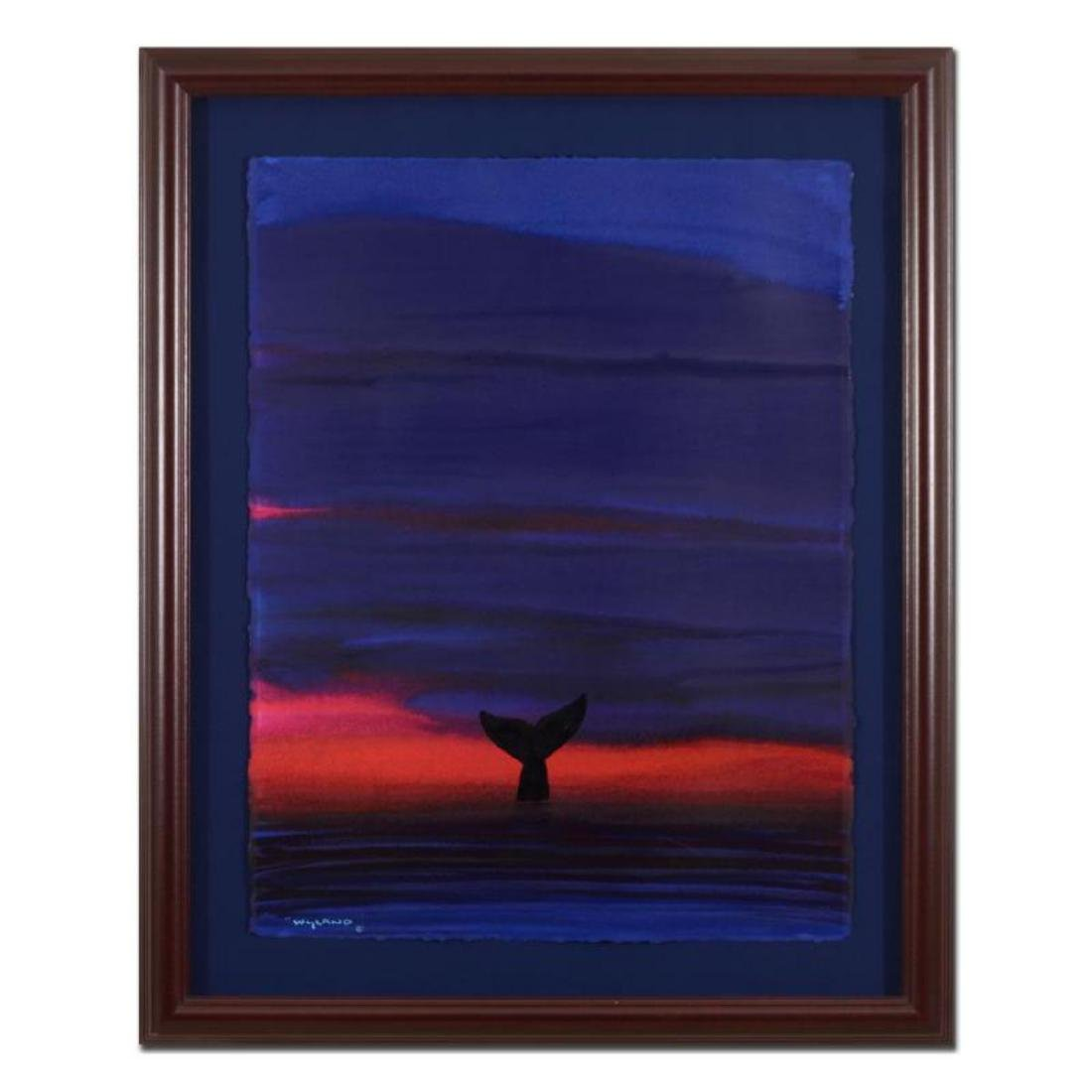 "Wyland - ""Whale Tail"" Framed Original Watercolor"