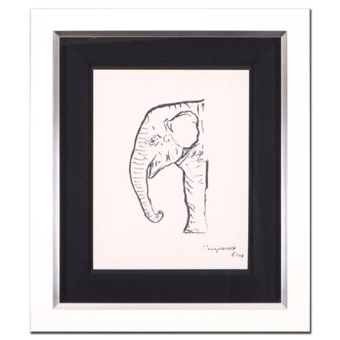 """Wyland - """"Elephant"""" Framed Original Sketch, Hand Signed"""