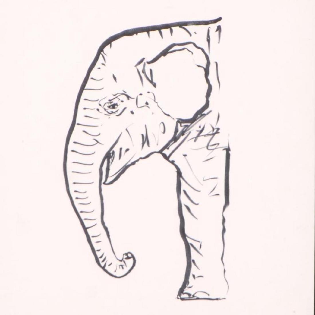 """Wyland - """"Elephant"""" Framed Original Sketch, Hand Signed - 2"""