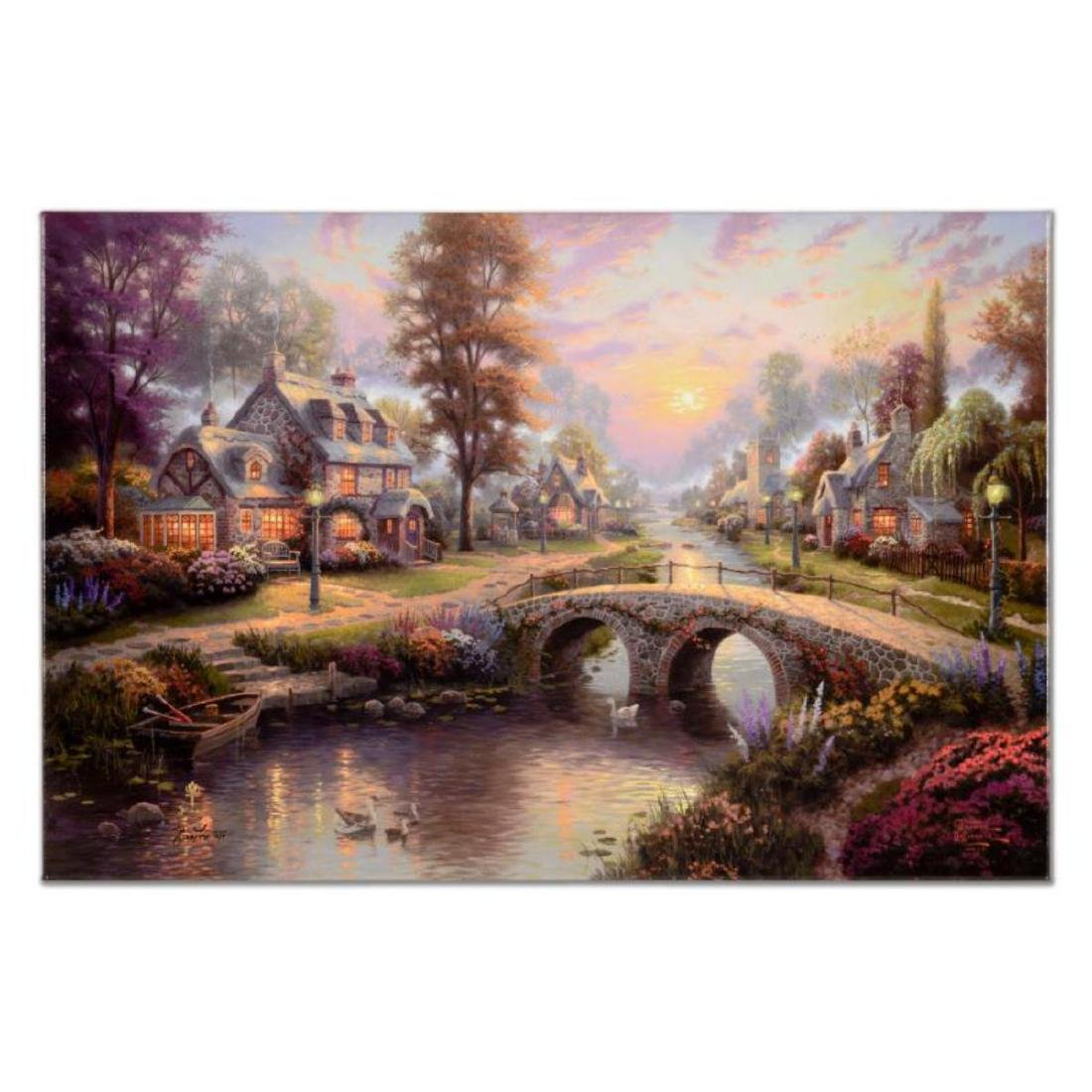 "Thomas Kinkade (1958-2012) - ""Sunset on Lamplight Lane"""