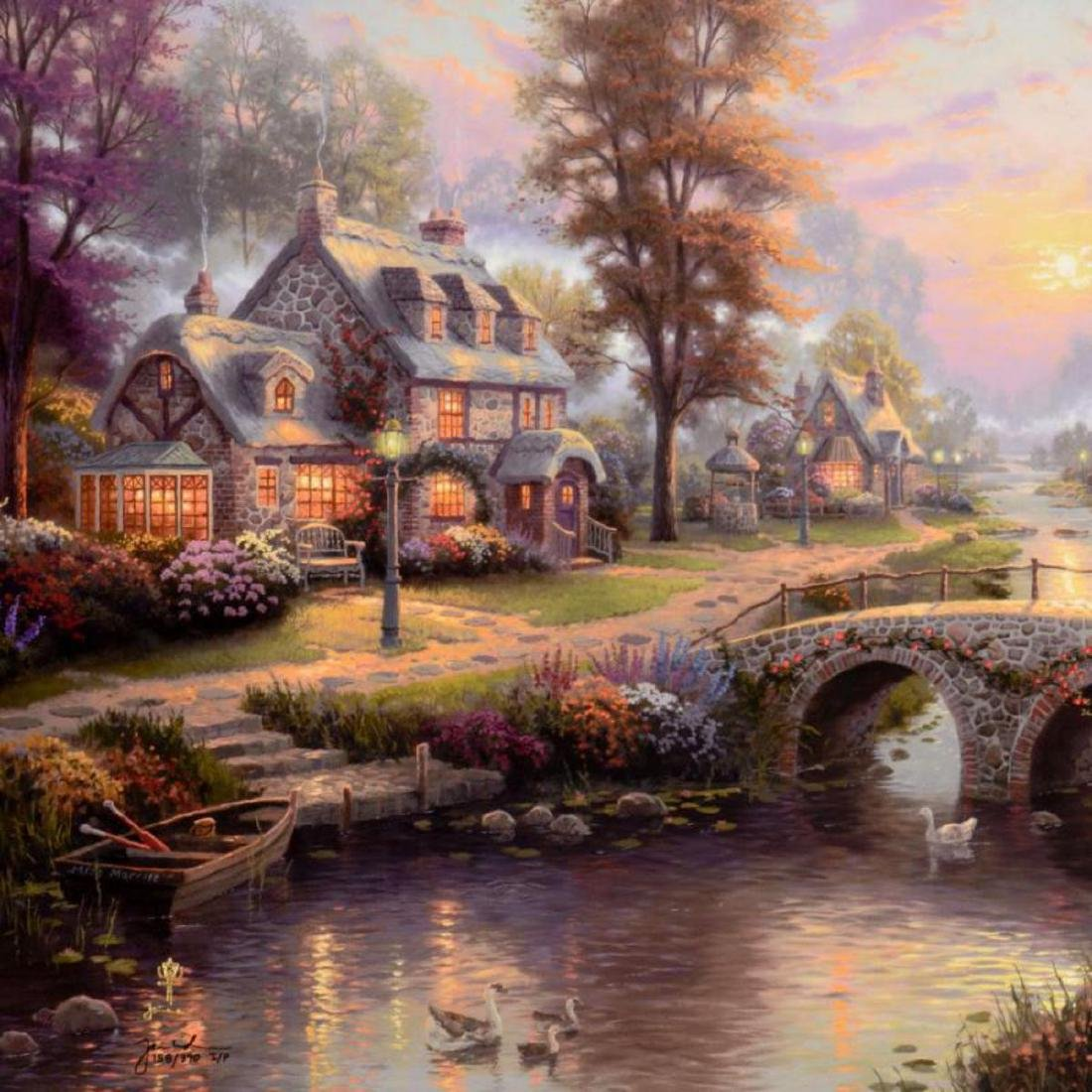 "Thomas Kinkade (1958-2012) - ""Sunset on Lamplight Lane"" - 2"