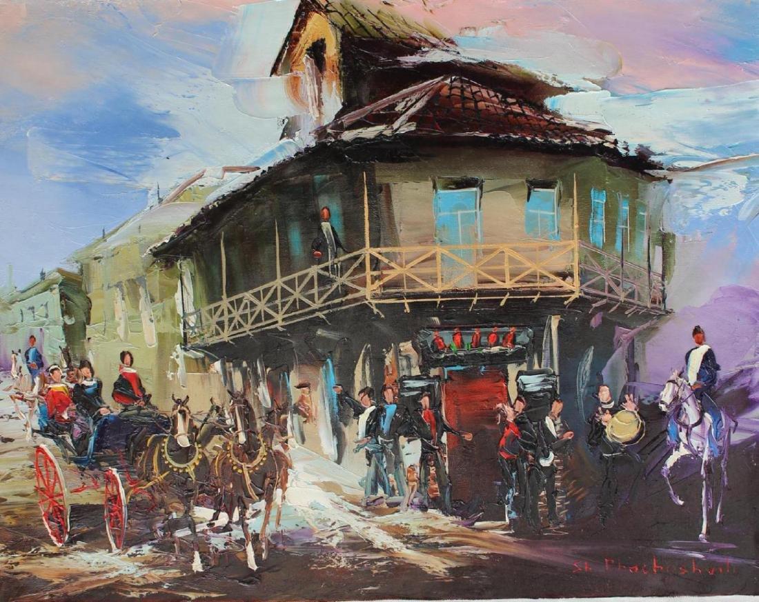 "Shalva Phachoshvili ""Welcome to the City"" Original Oil"