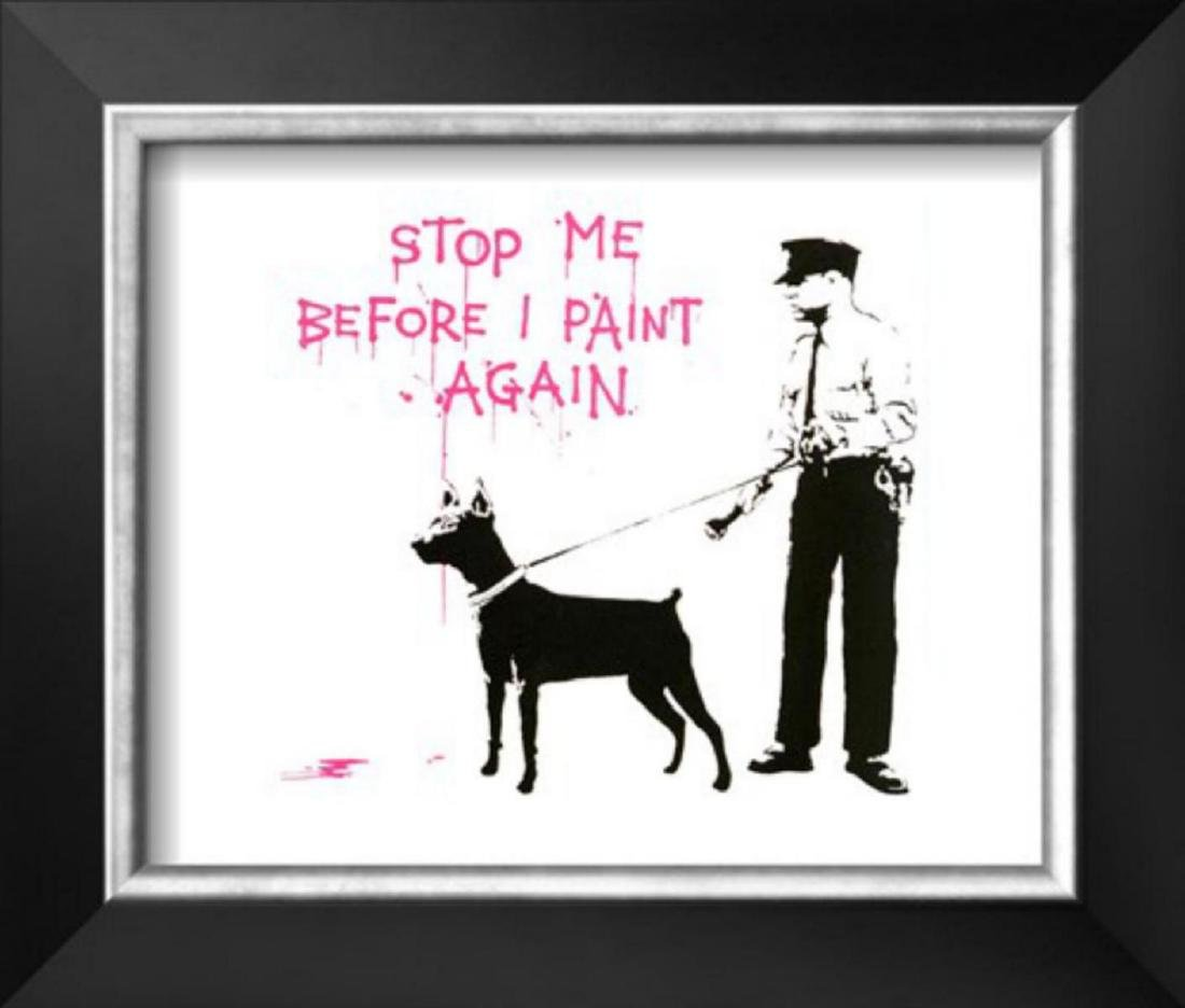 "Banksy ""Stop me before I paint again"" Cusom Framed"