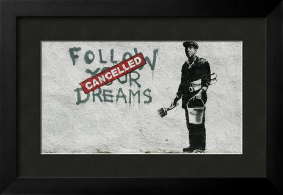 "Banksy ""Cancelled Dreams"" Custom Framed Giclee on Paper"