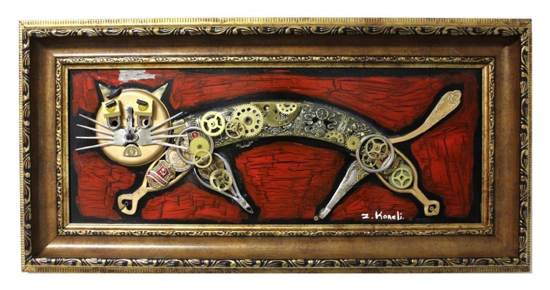 "Zaza Koreli- Original Collage on Wood Panel ""Cat"""