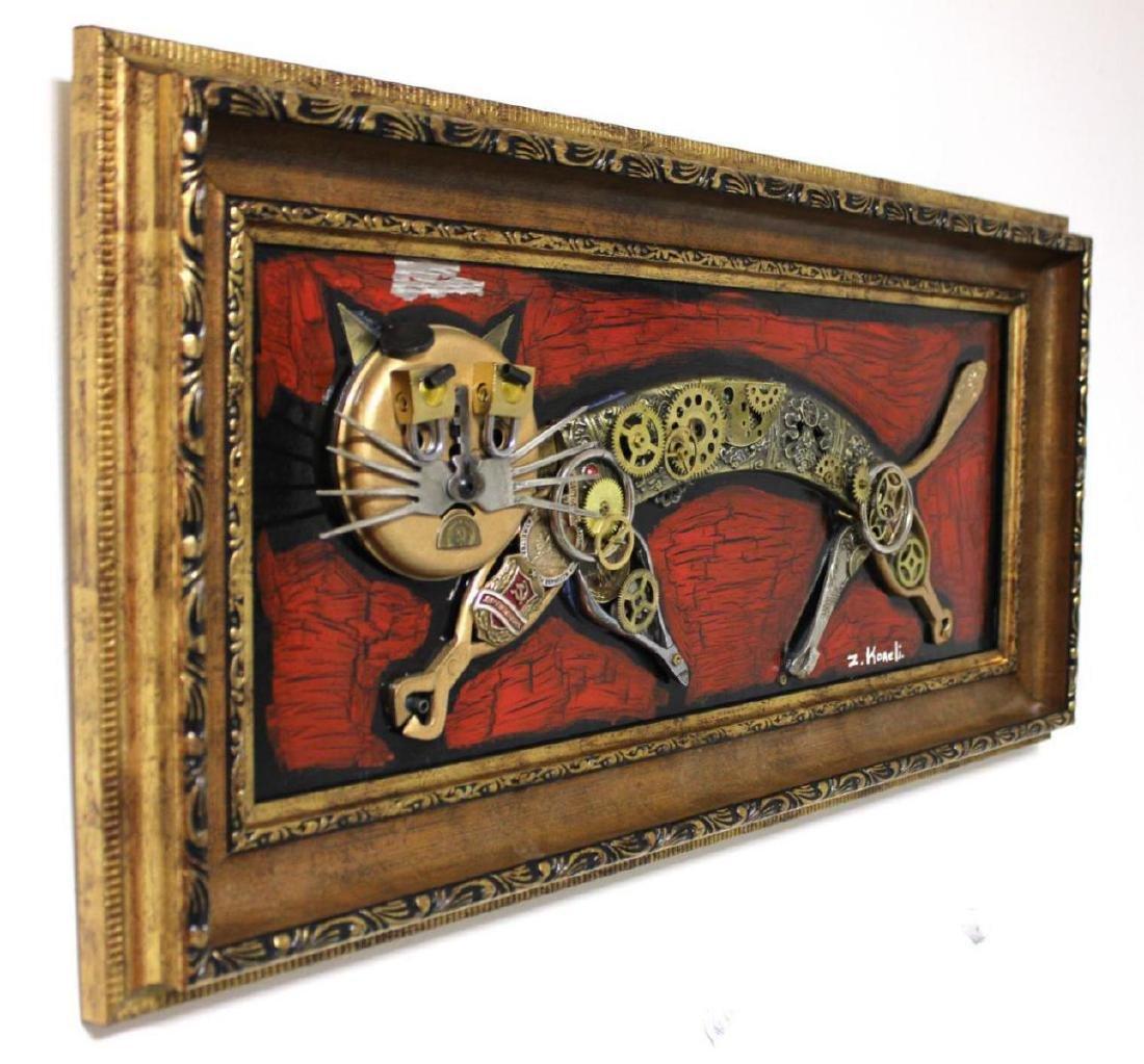 "Zaza Koreli- Original Collage on Wood Panel ""Cat"" - 2"