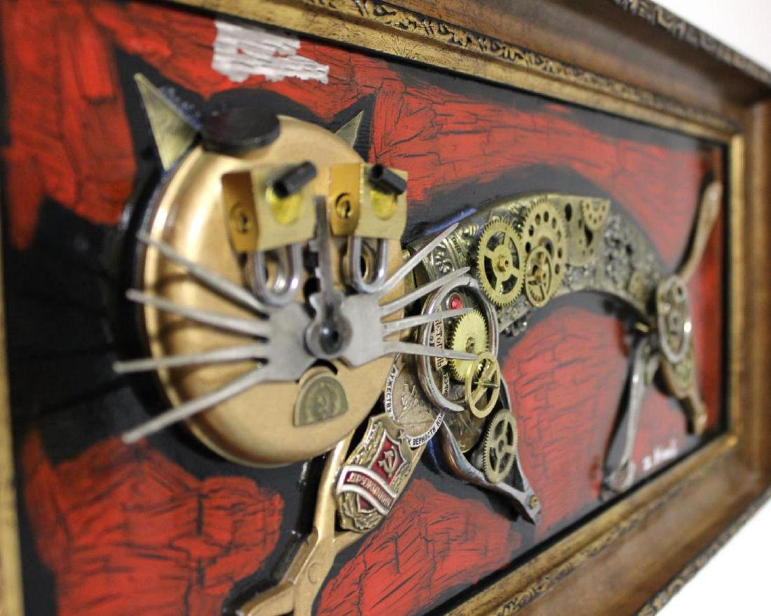 "Zaza Koreli- Original Collage on Wood Panel ""Cat"" - 4"