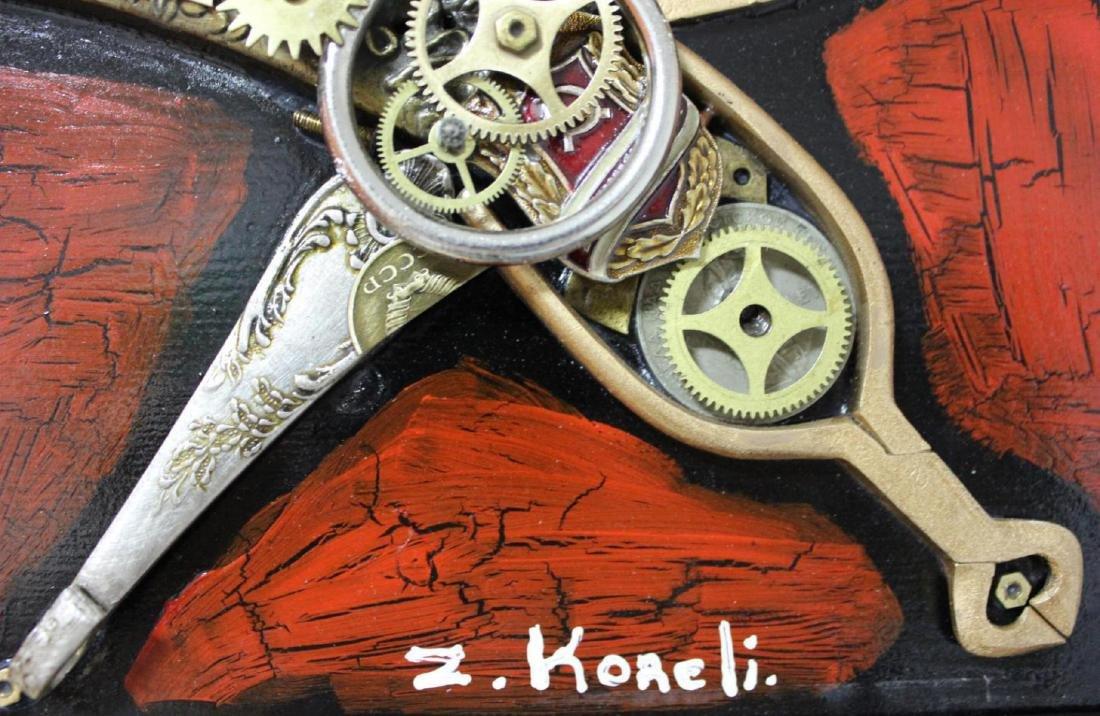 "Zaza Koreli- Original Collage on Wood Panel ""Cat"" - 5"