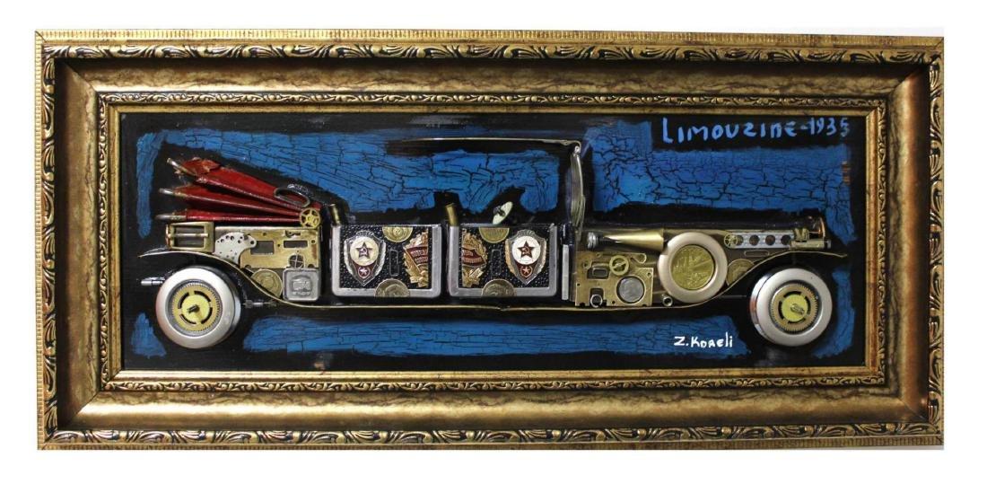 "Zaza Koreli- Original Collage on Wood Panel ""limouzine"