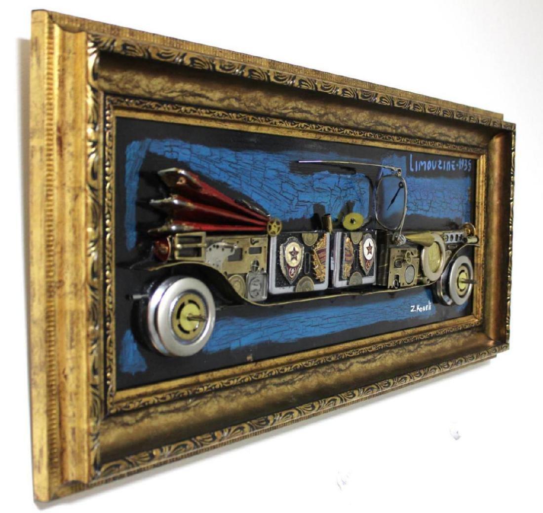 "Zaza Koreli- Original Collage on Wood Panel ""limouzine - 2"