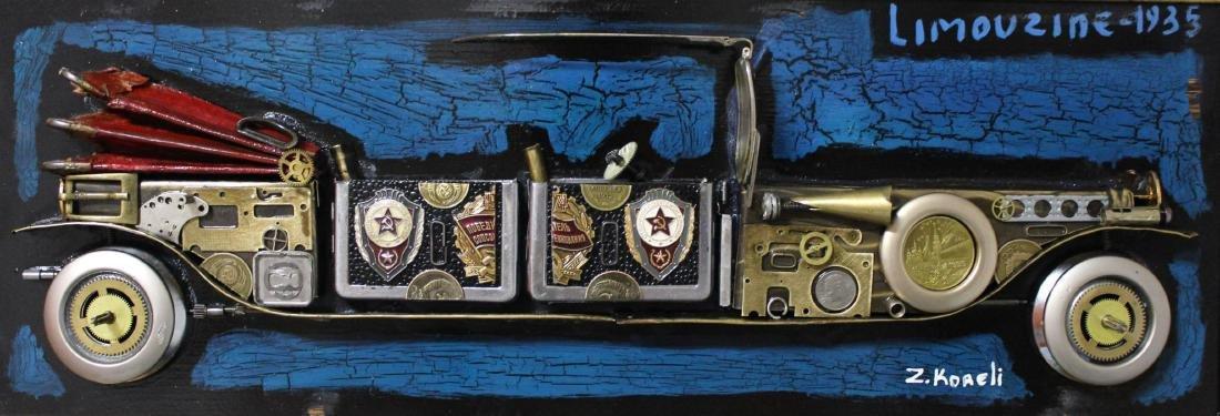 "Zaza Koreli- Original Collage on Wood Panel ""limouzine - 3"