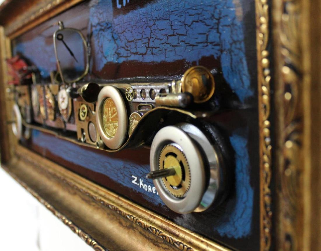 "Zaza Koreli- Original Collage on Wood Panel ""limouzine - 4"