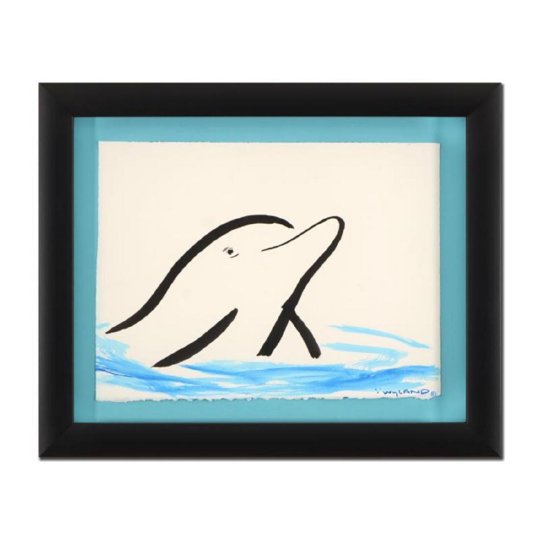 "Wyland - ""Dolphin"" Framed Original Watercolor Painting,"