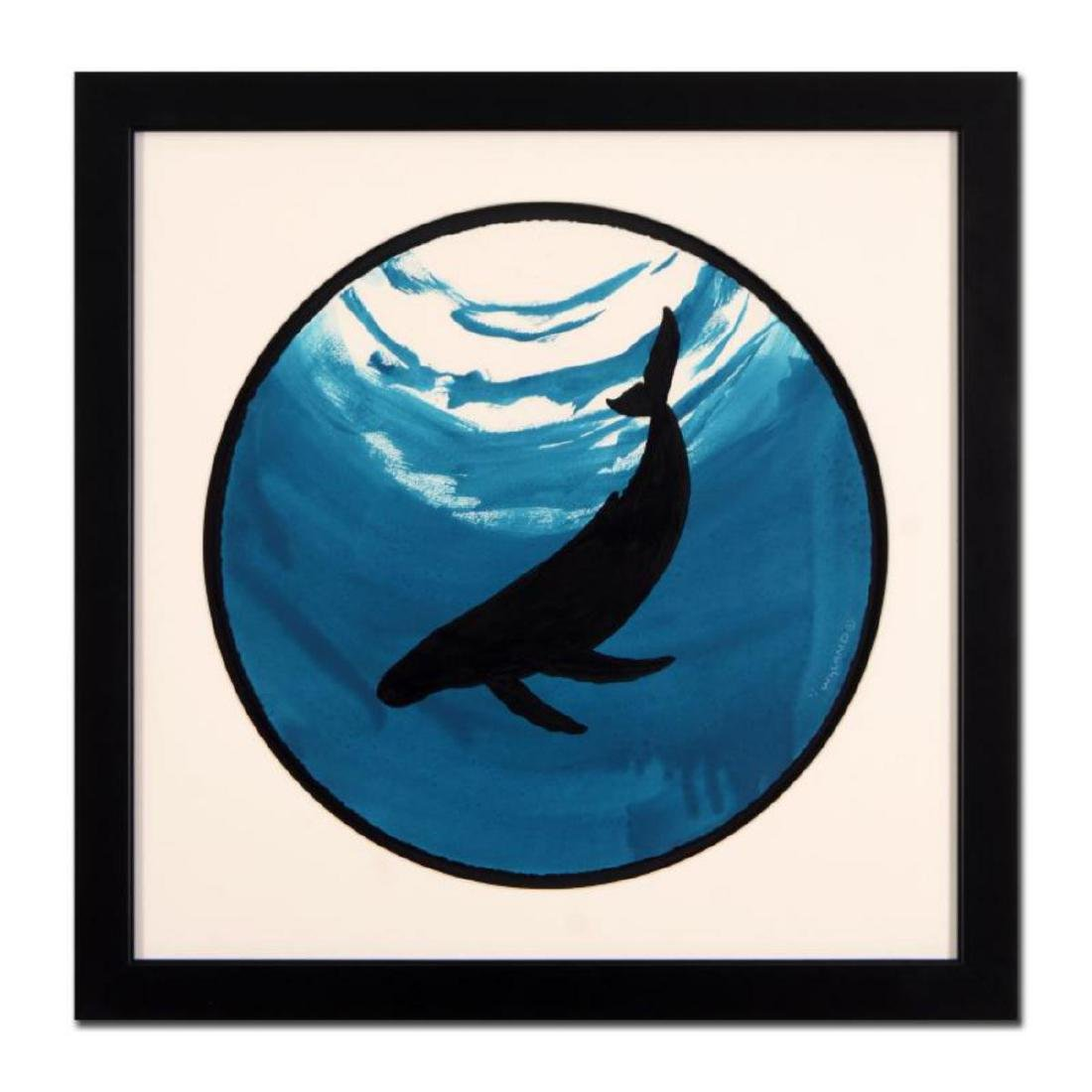 "Wyland -""Whale"" Framed Original Watercolor Painting,"