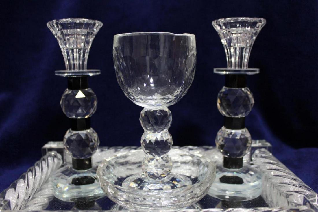 Luxurious Glass and Crystals Judaica Shabbat Set Made - 3